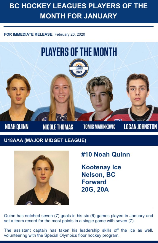 BC Player of the Month